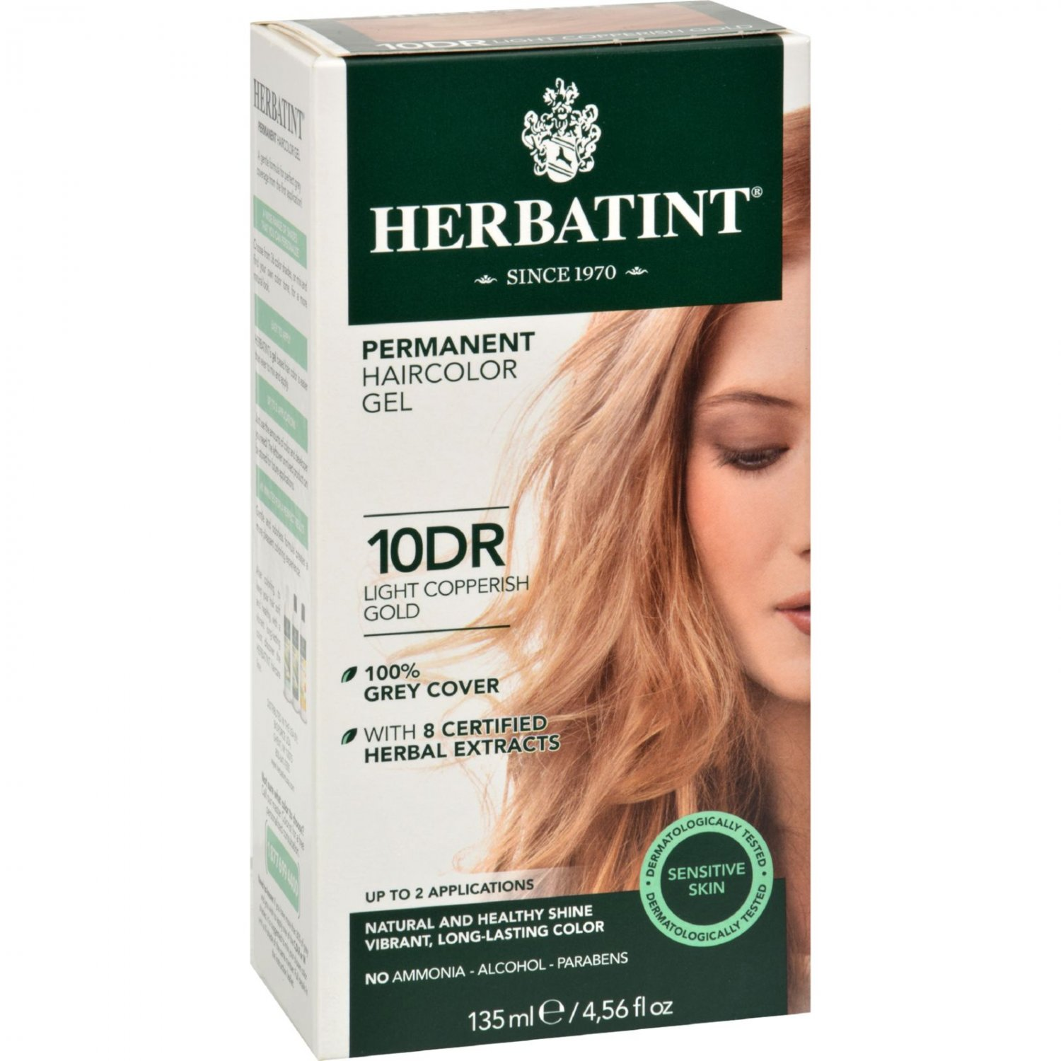Herbatint Permanent Herbal Haircolour Gel 10 DR Light Copperish Gold - 135 ml