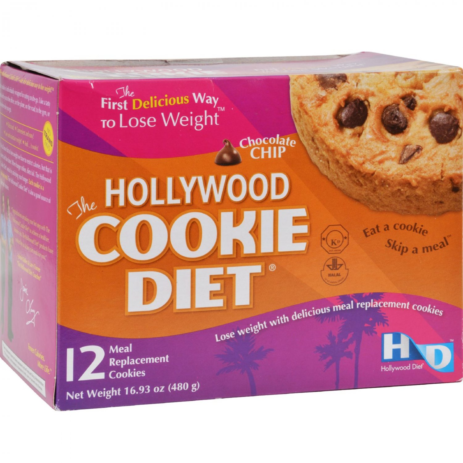 Hollywood Diet Miracle Products Cookie Diet Meal Replacement Cookie Chocolate Chip - 12 Cookies