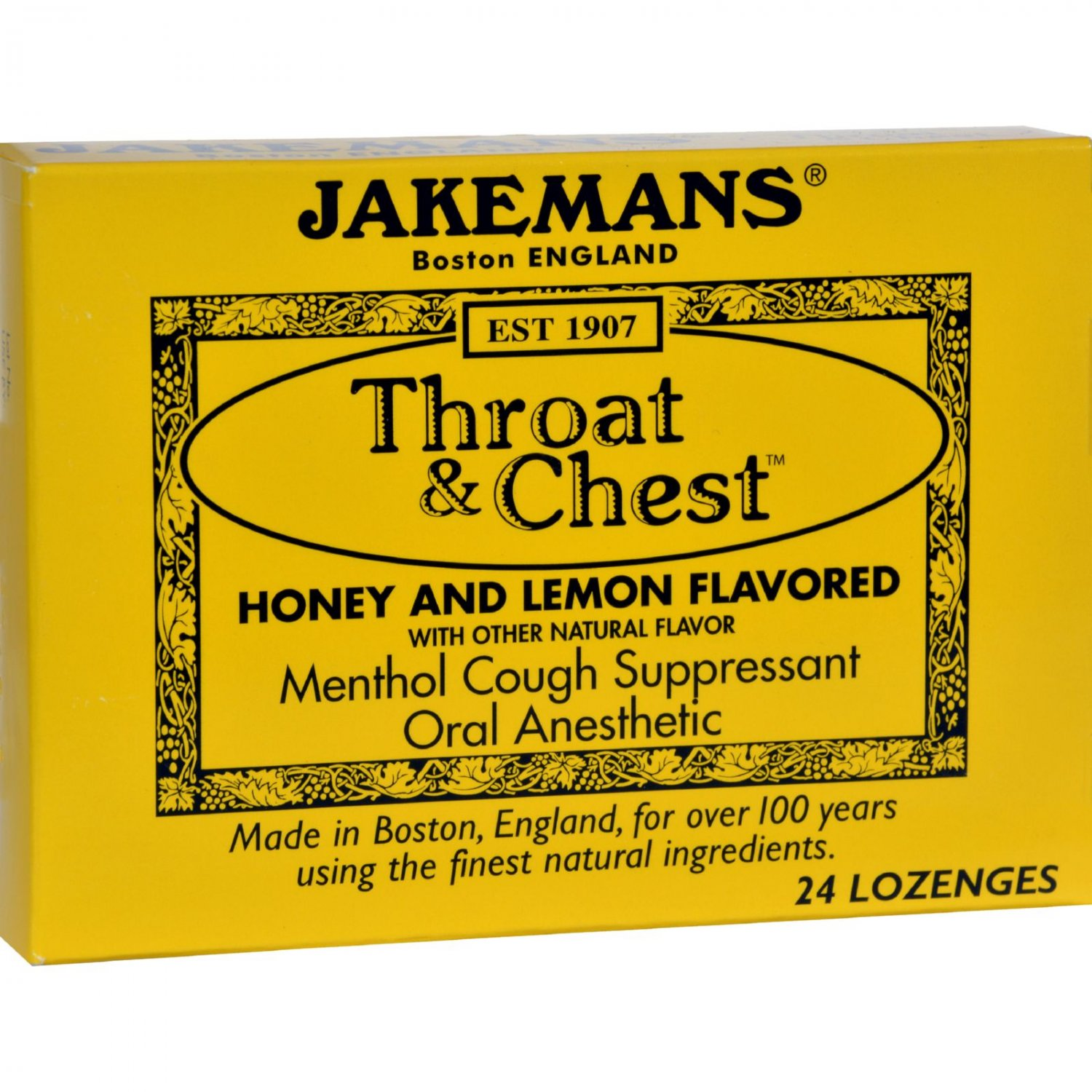 Jakemans Throat and Chest Lozenges - Honey and Lemon - 24 Pack