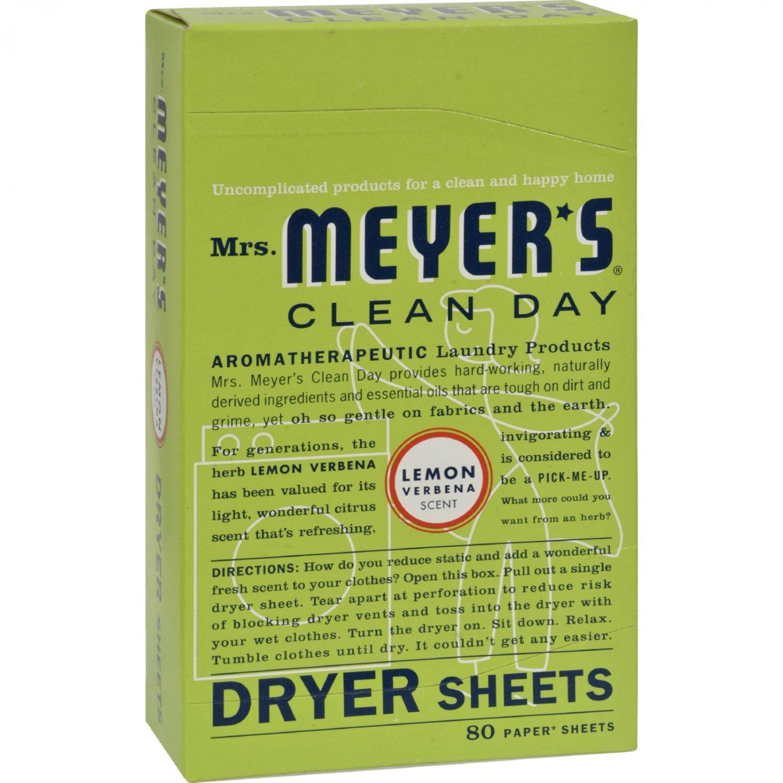 Mrs. Meyer's Dryer Sheets - Lemon Verbena - Case of 12 - 80 Sheets