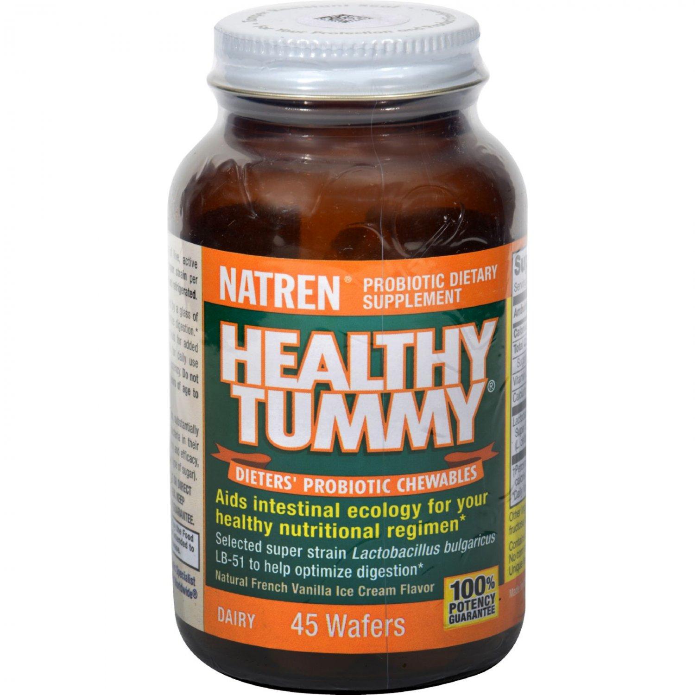 Natren Healthy Tummy Probiotic Chewables - Natural French Vanilla Ice Cream Flavor - 45 Wafers