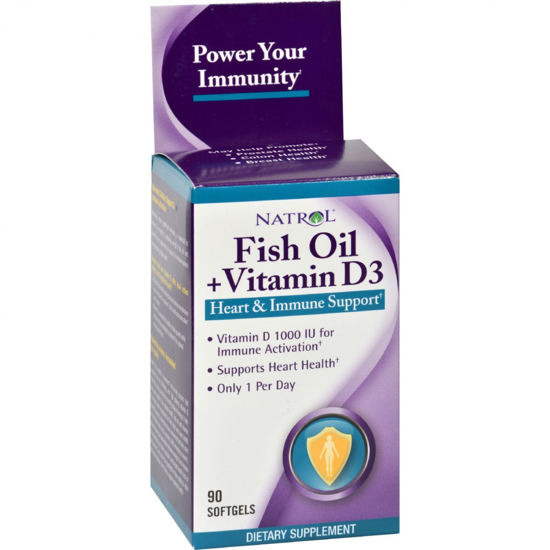 Natrol Fish Oil Plus Vitamin D3 Heart and Immune Support - 90 Softgels