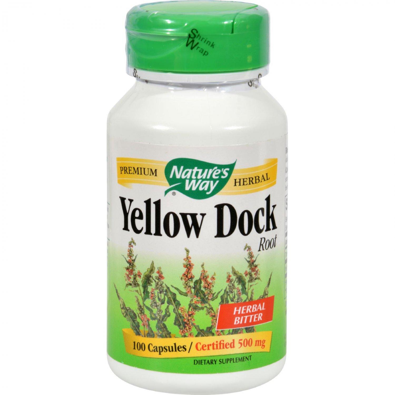 Nature's Way Yellow Dock Root - 500 mg - 100 Capsules