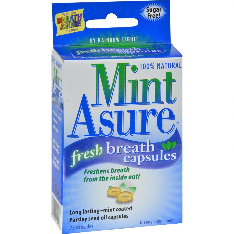 Rainbow Light Fresh Breath Capsules - 100 Percent Natural - Mint Asure - 75 Softgels