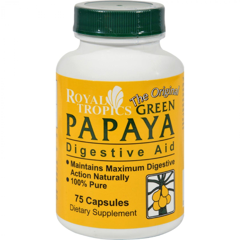 Royal Tropics The Original Green Papaya Digestive Aid - 75 Capsules