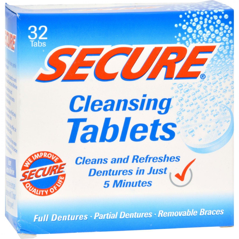 SECURE Denture Adhesive Denture Cleanser - 32 Tablets