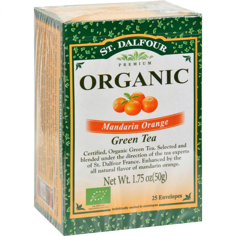 St Dalfour Organic Mandarin Orange Green Tea Mandarin Orange - 25 Tea Bags - Case of 6