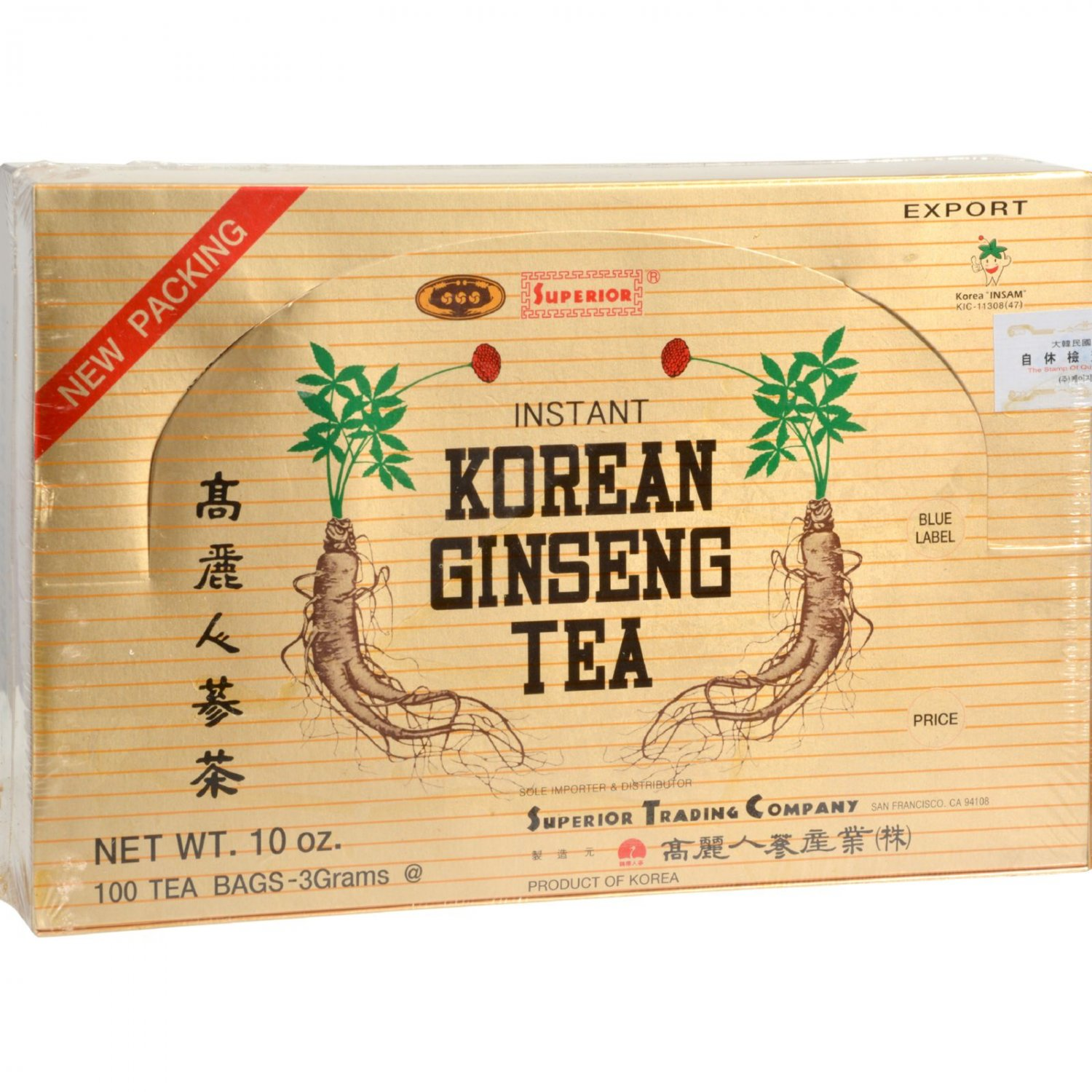 Superior Instant Korean Ginseng Tea - 100 Tea Bags
