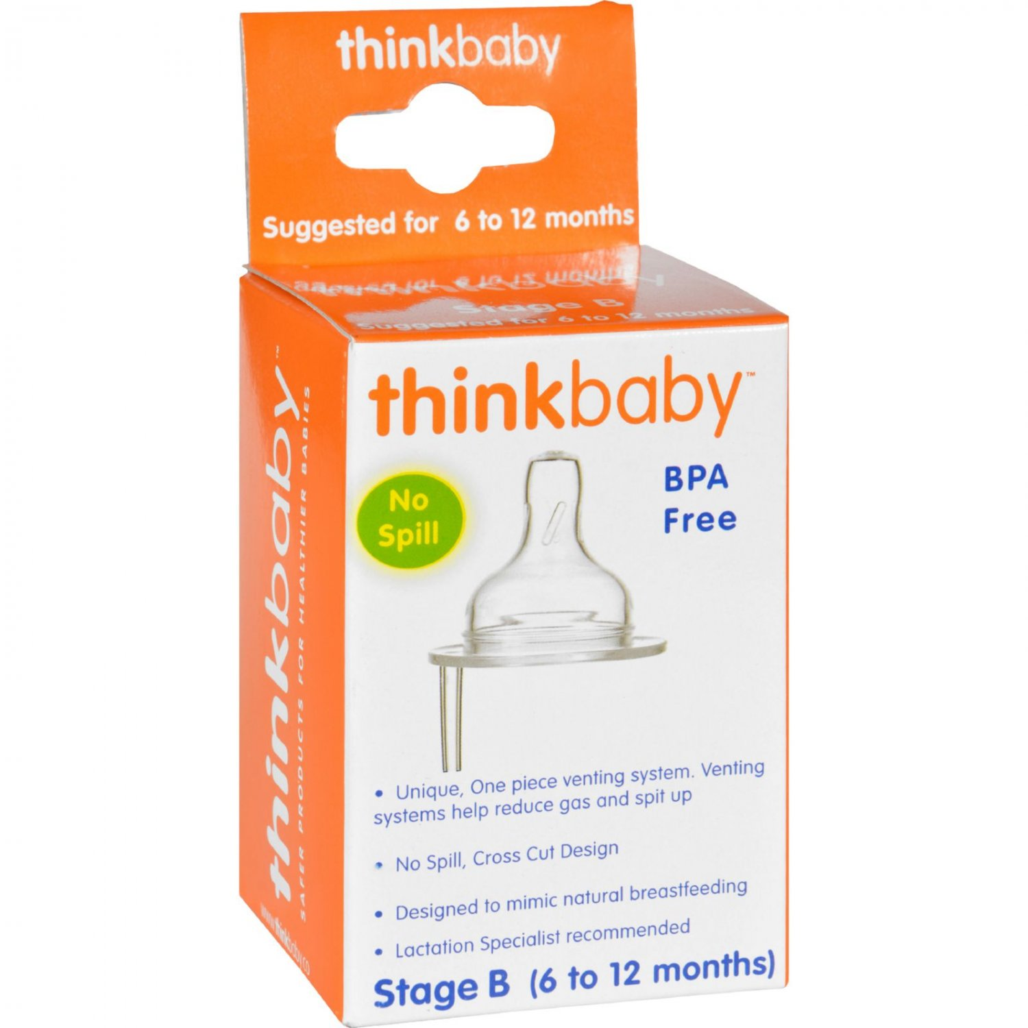 Thinkbaby Stage B Nipple with Vent (6-12 Months) - 2 Pack