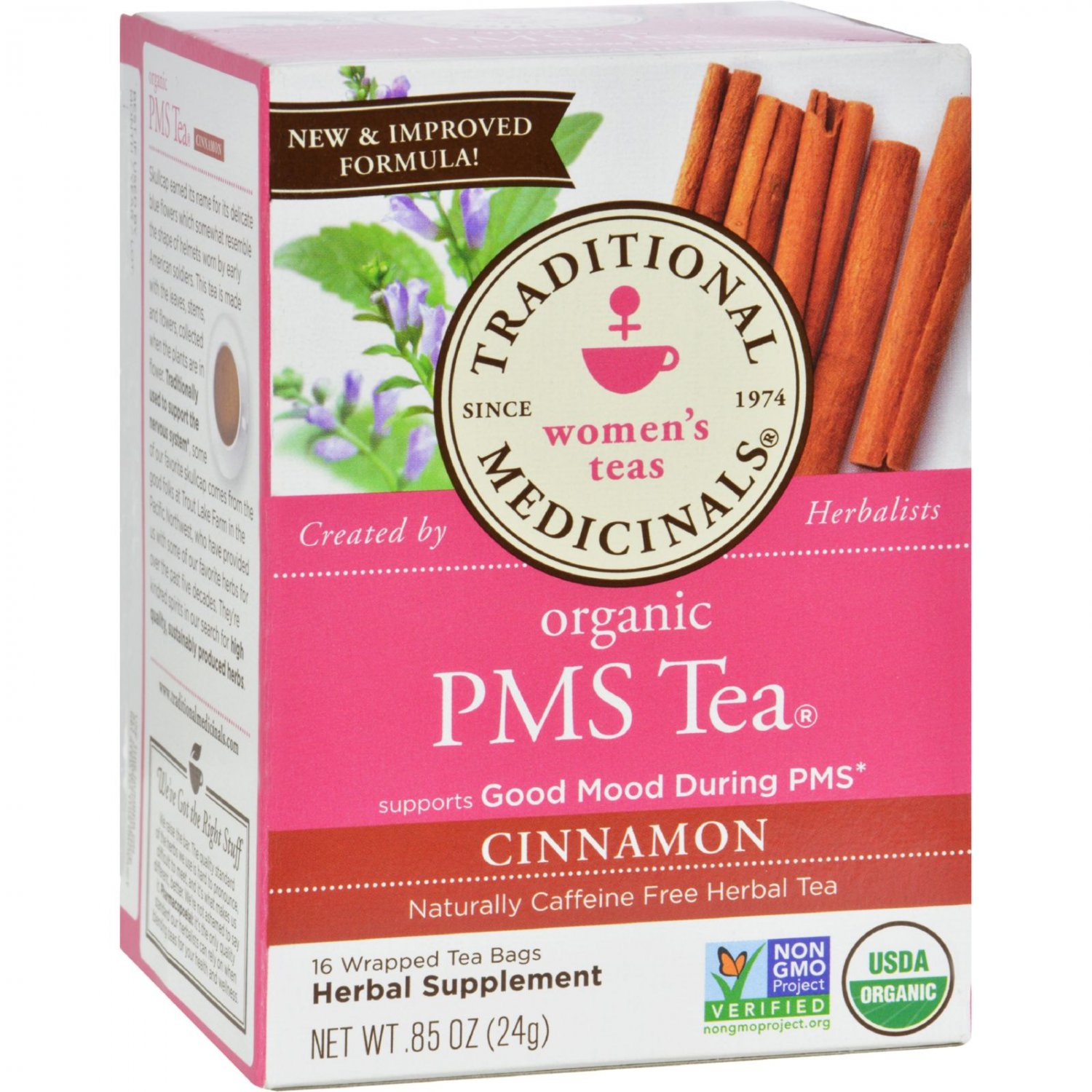 Traditional Medicinals PMS Cinnamon Herbal Tea - 16 Tea Bags - Case of 6