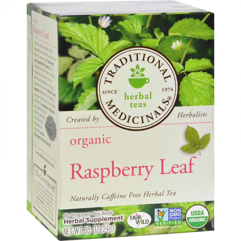 Traditional Medicinals Organic Raspberry Leaf Herbal Tea - 16 Tea Bags - Case of 6