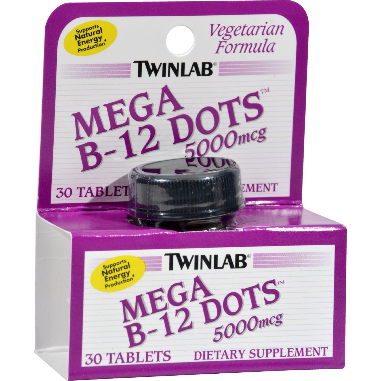 Twinlab Mega B-12 Dots - 5000 mcg - 30 Tablets