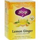 Yogi 100% Natural Herbal Tea Caffeine Free Lemon Ginger - 16 Tea Bags - Case of 6