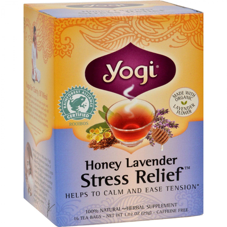 Yogi Stress ReliefHerbal Tea Caffeine Free Honey Lavender - 16 Tea Bags - Case of 6