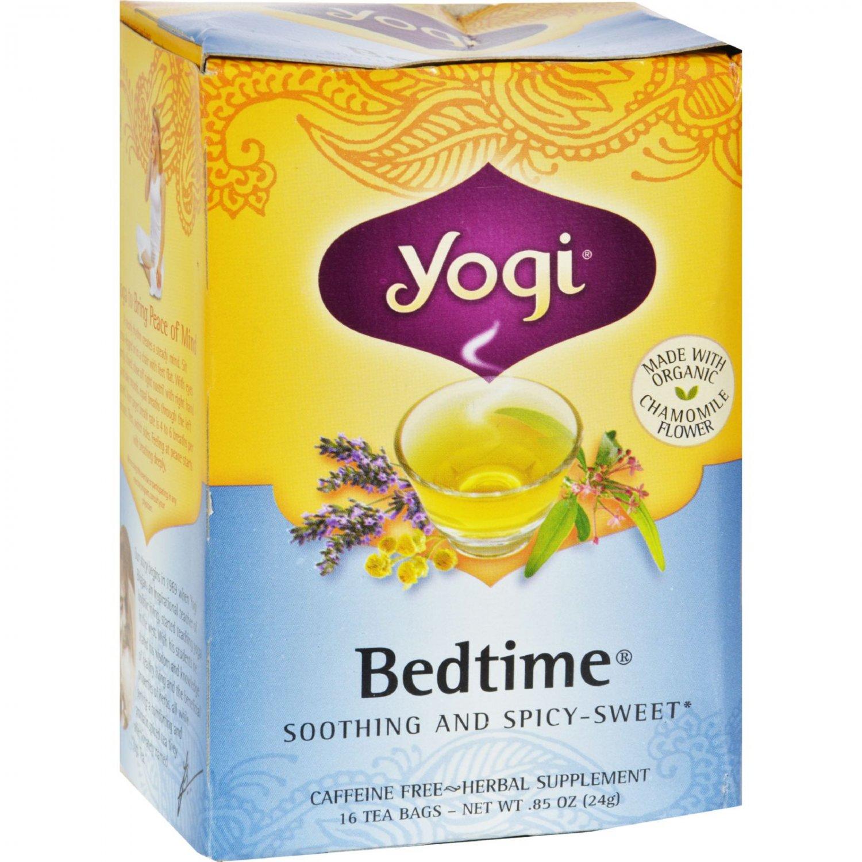 Yogi Bedtime Herbal Tea Caffeine Free Chamomile - 16 Tea Bags - Case of 6