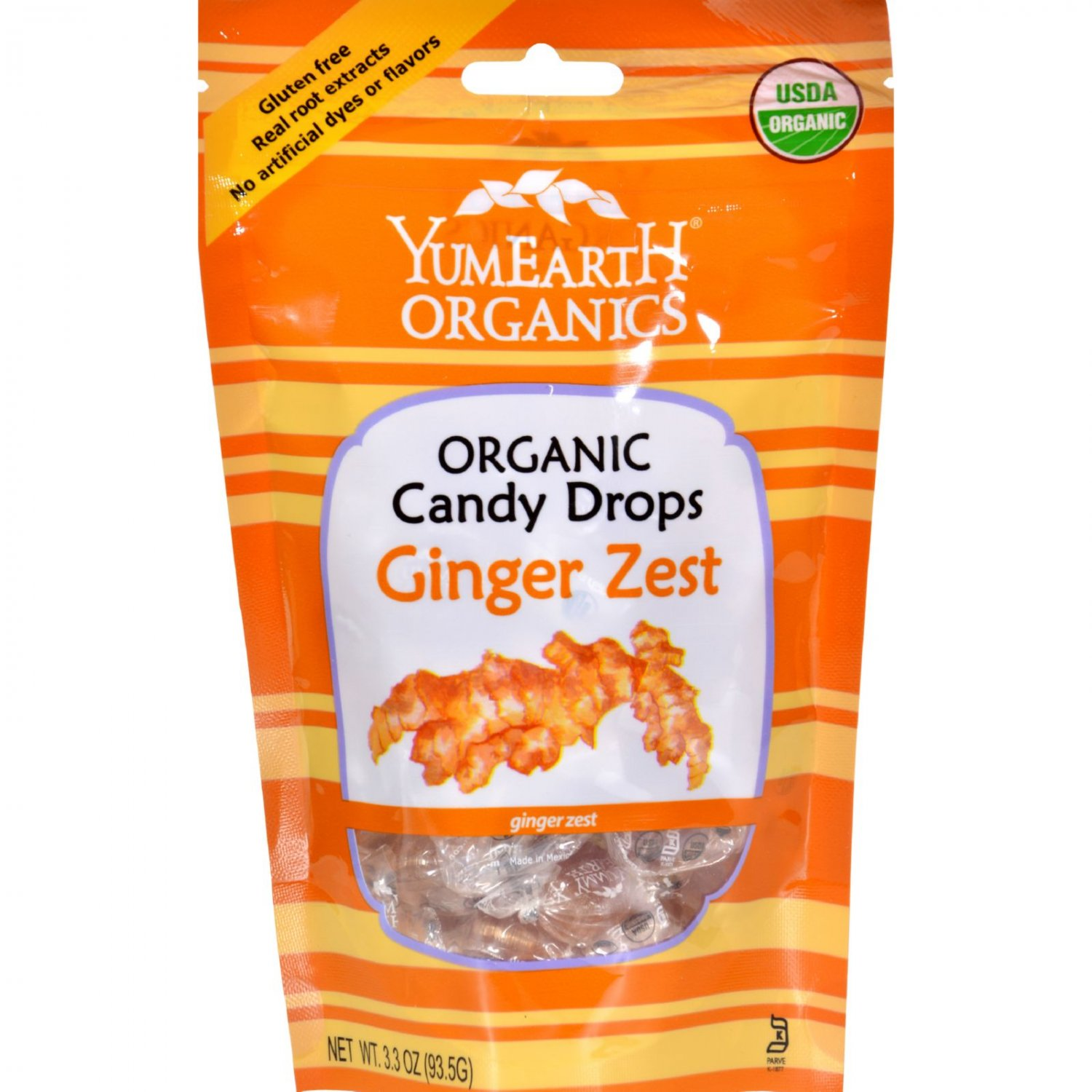 Yummy Earth Organic Candy Drops Ginger Zest 3.3 oz - Case of 6 - 3.3 oz