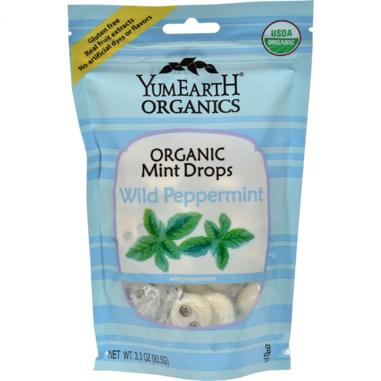 Yummy Earth Organic Candy Drops Wild Peppermint - 3.3 oz - Case of 6