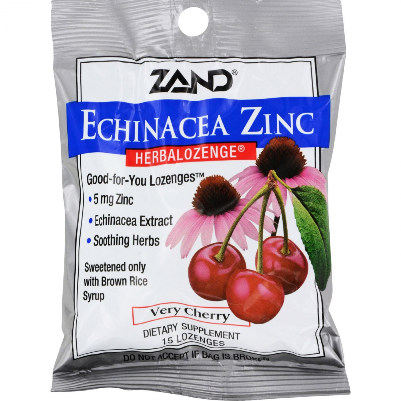 Zand HerbaLozenge Echinacea Zinc Natural Cherry - 15 Lozenges - Case of 12