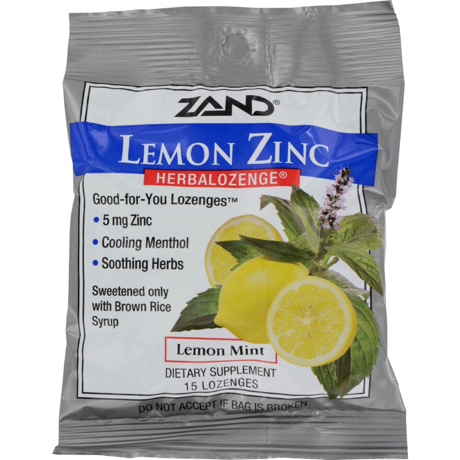 Zand HerbaLozenge Lemon Zinc Lemon - 15 Lozenges - Case of 12