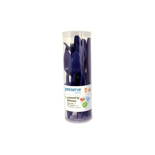Preserve Reusable Cutlery Sets - Midnight Blue - Case of 12 - 288 Pieces total