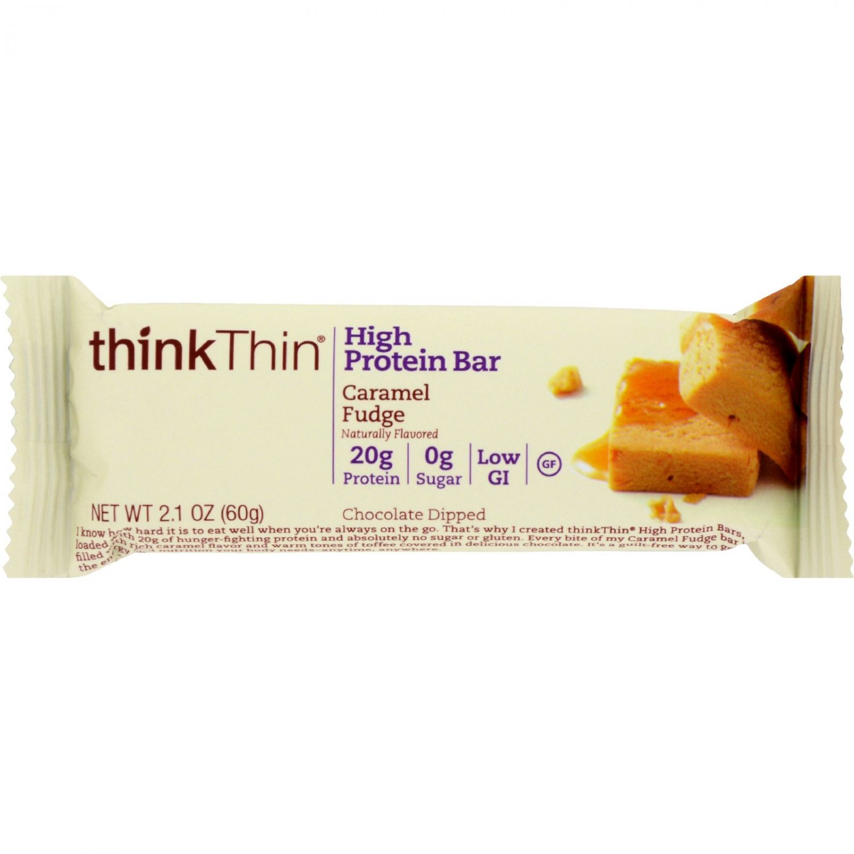 Think Products thinkThin High Protein Bar - Caramel Fudge - 2.1 oz - Case of 10