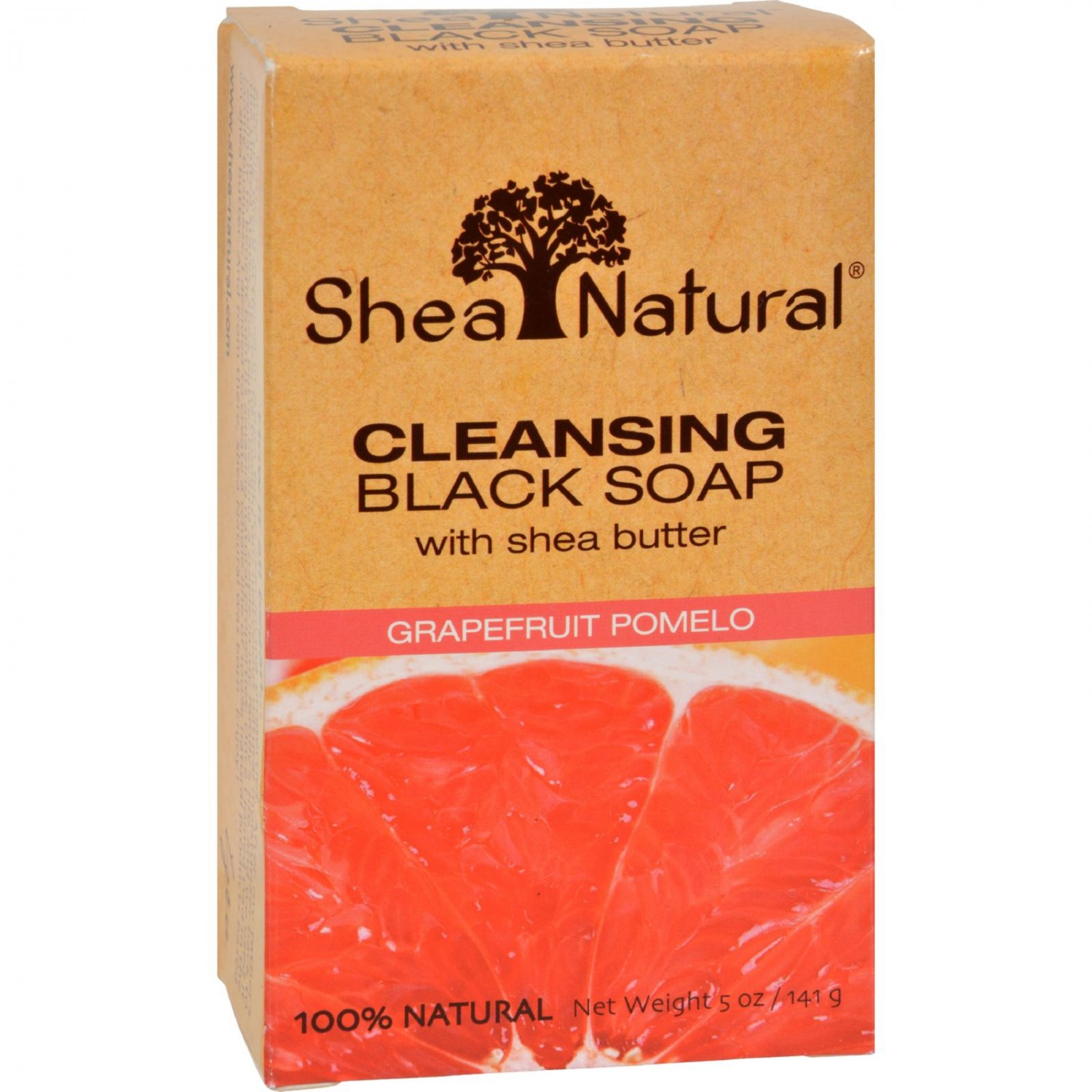 Shea Natural Black Soap - Shea Butter Cleansing Grapefruit Pomelo - 5 oz
