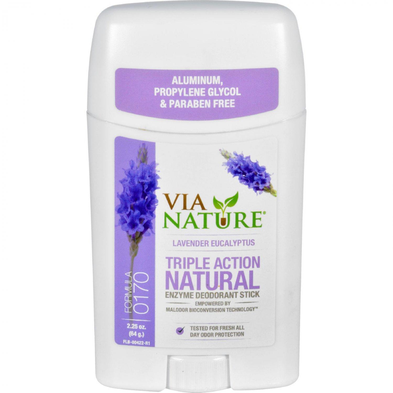 Via Nature Deodorant - Stick - Lavender Eucalyptus - 2.25 oz