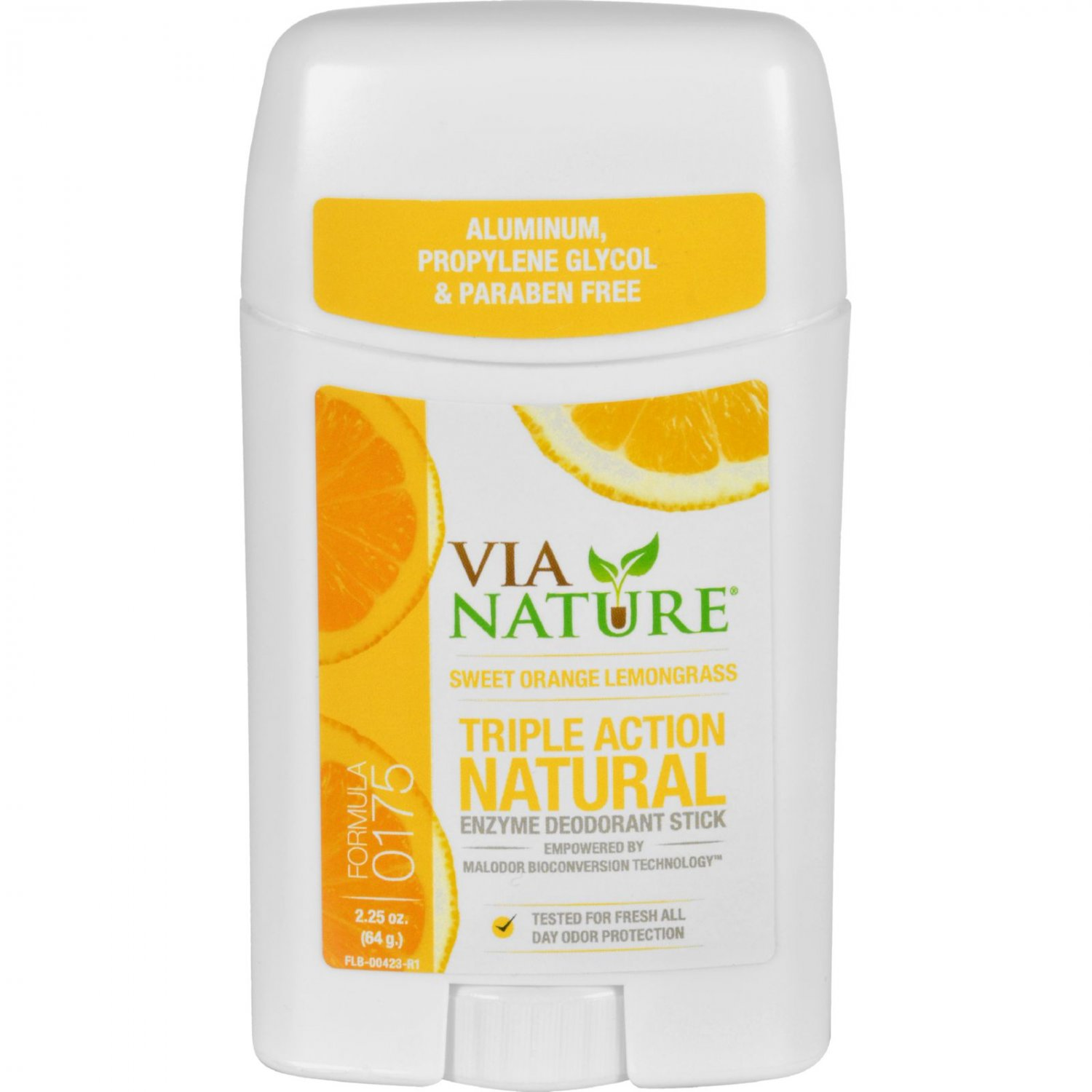 Via Nature Deodorant - Stick - Sweet Orange Lemongrass - 2.25 oz
