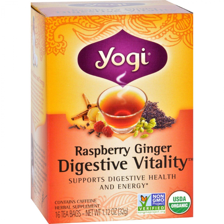 Yogi Tea - Organic - Raspberry Ginger Digestive Vitality - 16 Bags - 1 Case