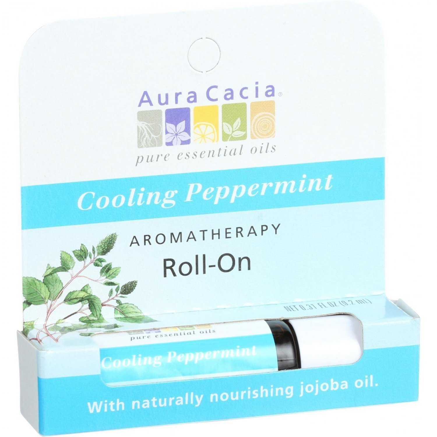Aura Cacia Roll On Aroma Stick - Cooling Peppermint - .31 oz - Case of 6