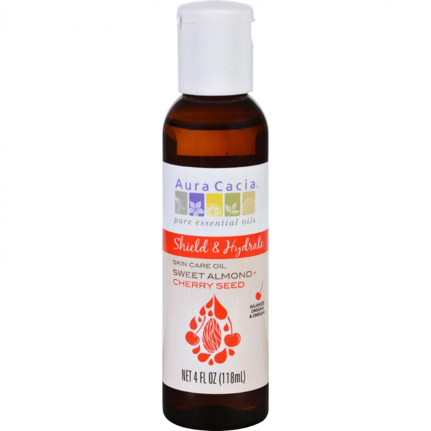 Aura Cacia Skin Care Oil - Shield and Hydrate - Sweet Almond plus Cherry Seed - 4 oz