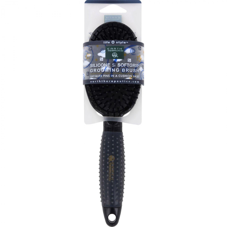 Earth Therapeutics Hair Brush - Silicon - Black - 1 Count