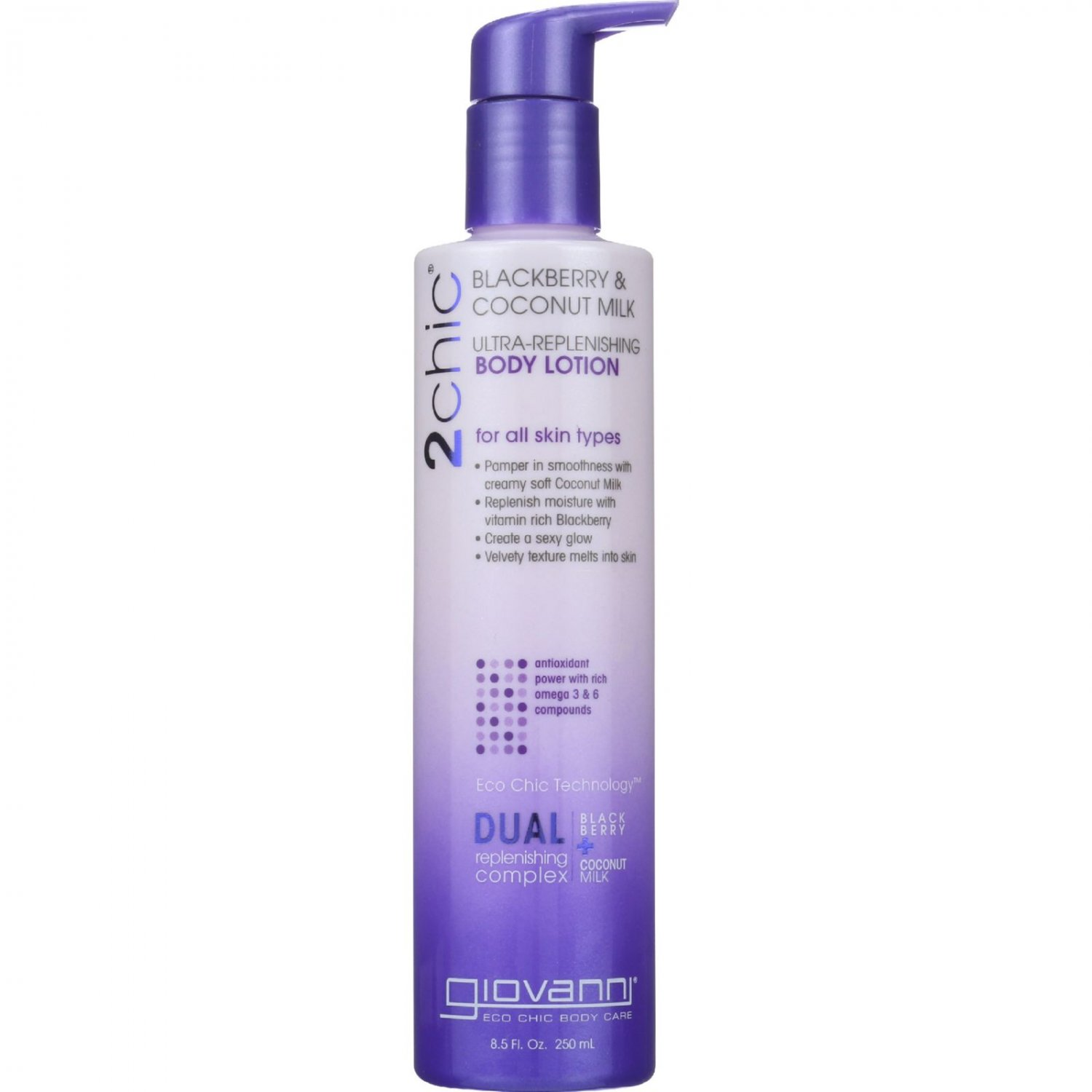 Giovanni Hair Care Products Lotion - 2Chic - Ultra-Replenishing - Blackberry and Coconut Milk - 8.5