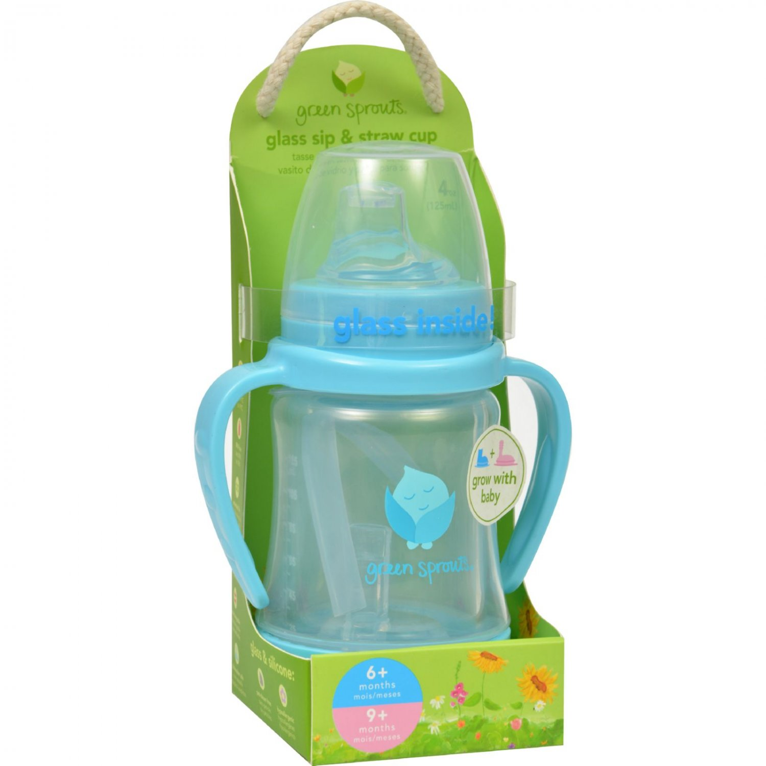 Green Sprouts Cup - Sip N Straw - Glass - 6 Months Plus - Aqua - 1 Count