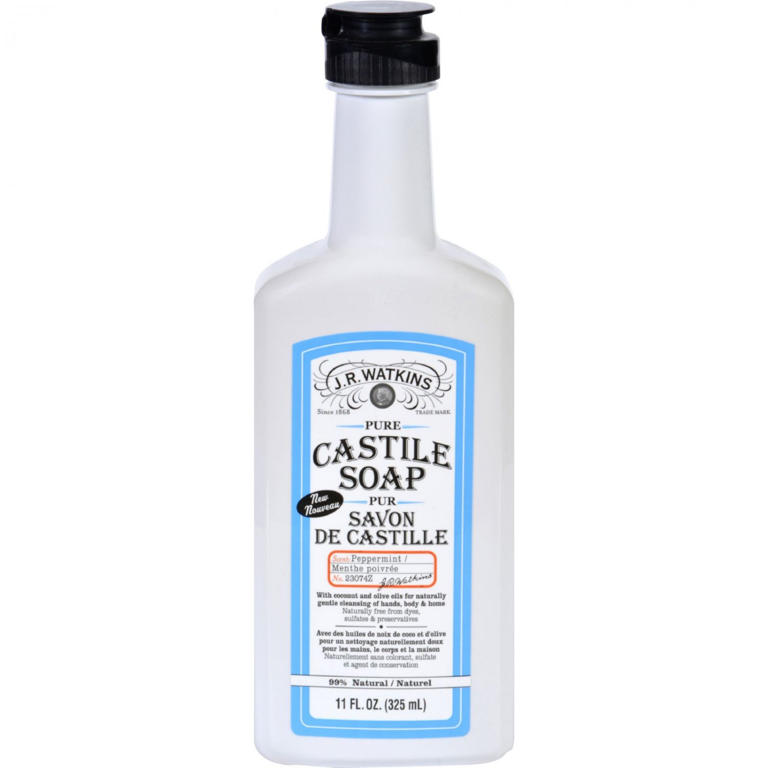 J.R. Watkins Hand Soap - Castile - Liquid - Peppermint - 11 oz