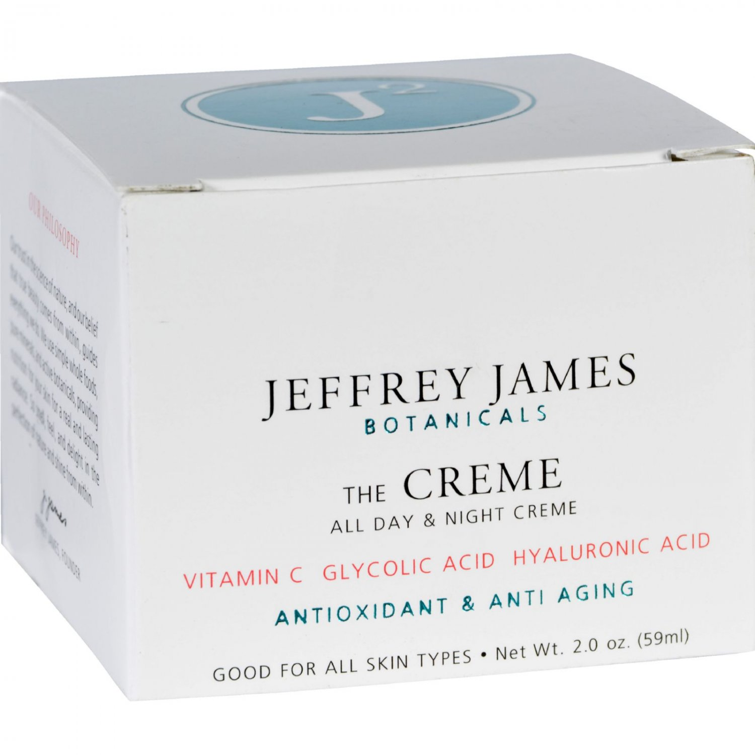 Jeffrey James Botanicals Facial Cream - The Creme - All Day and All Night - 2 oz