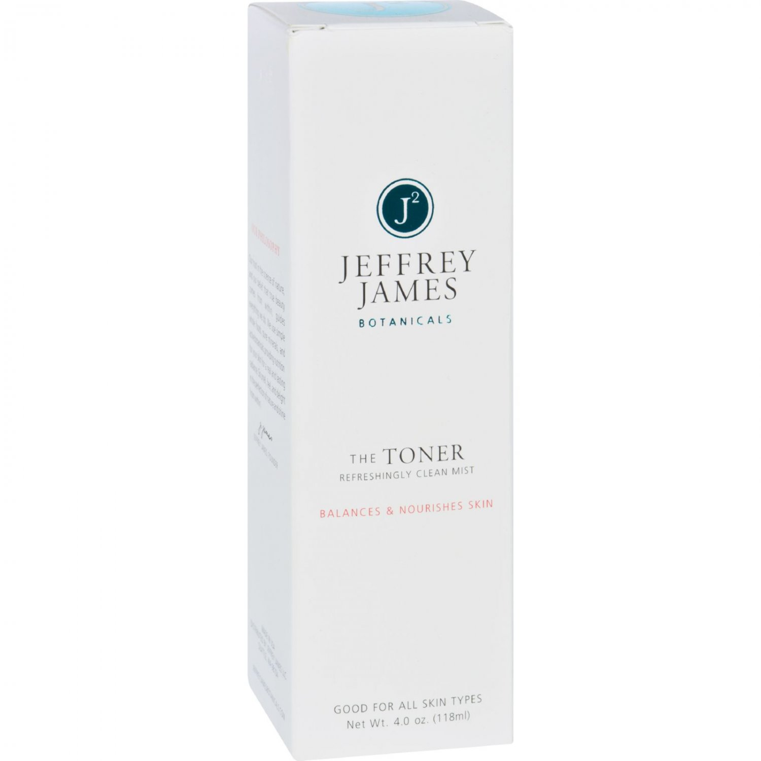Jeffrey James Botanicals Facial Toner - The Toner - Refreshingly Clean Mist - 4 oz