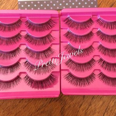 10 Pairs � Natural Look False Eyelashes