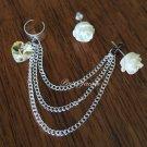 White Rose Heart Ear Cuff Earrings