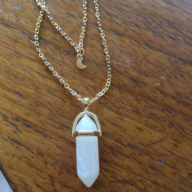 White Quartz Gemstone Moon Necklace