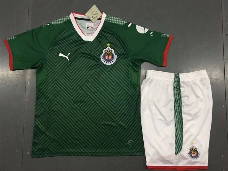 best website 54af8 53d9f Chivas away green 2018-2019 Jersey W Shorts Kid Youth For Age 3-13