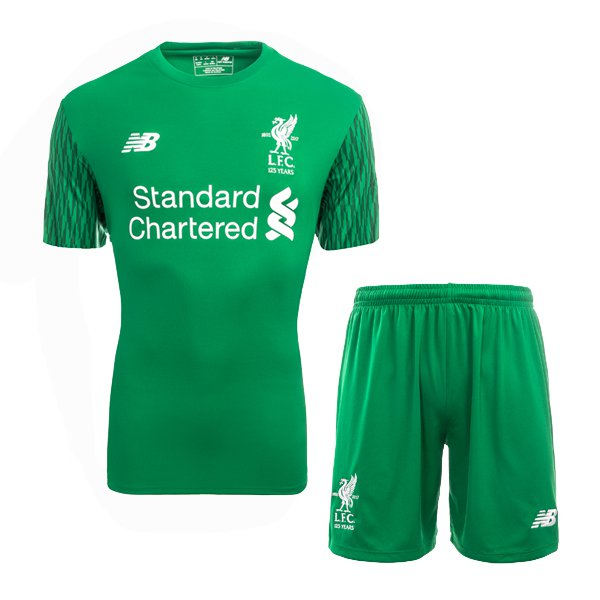 Liverpool goalkeeper green 2018-2019 Jersey W Shorts Kid Youth For Age 3-13 2ffb19f68