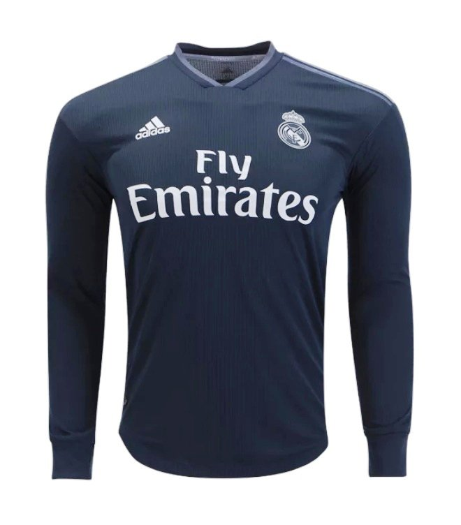 dfdc68d57 FAN SHIRT Real Madrid black long sleeves 2018-2019 Away Jersey New Free  Shipping