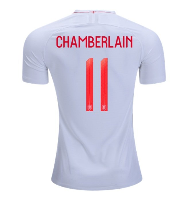 12d01c11f Chamberlain  11 ENGLAND 2018-2019 Home Football Shirt -white Best Quality