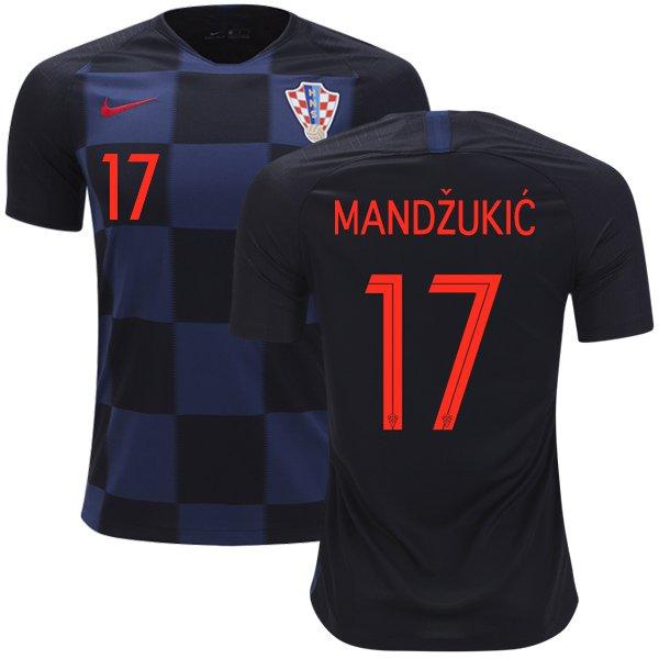 df8387dd2 Mandzukic #17 Croatia Away Jersey SOCCER 2018-2019 -BLACK/DARK NAVY