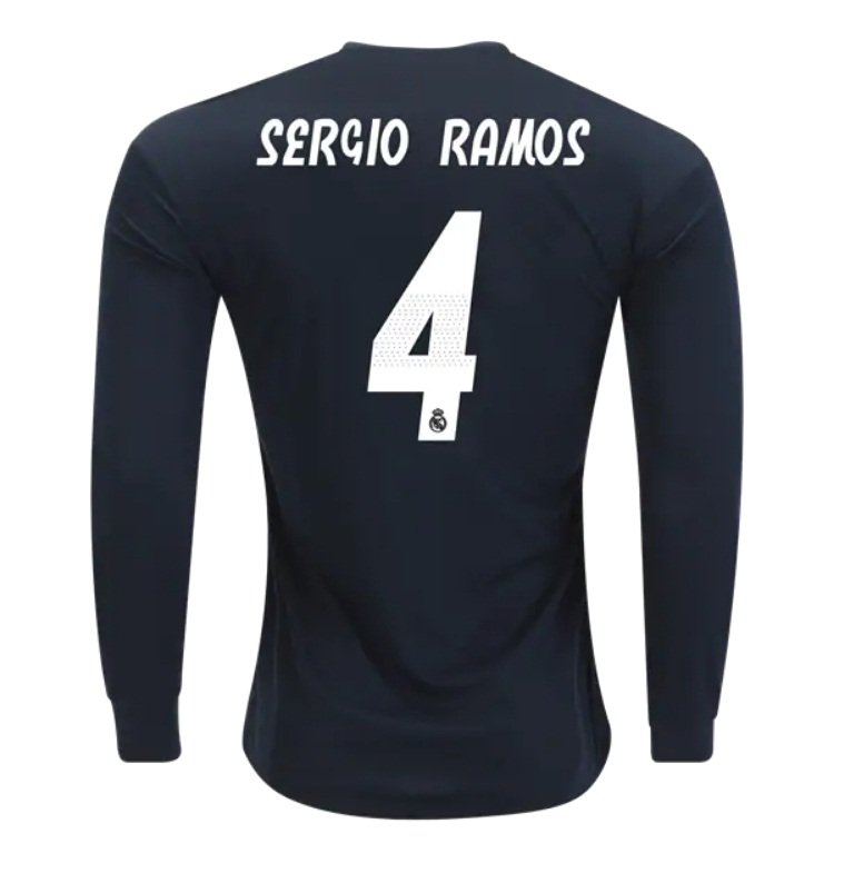 Sergio Ramos  4 Real Madrid Long Sleeve 2018-2019 away Jersey New Free  Shipping 33093c282