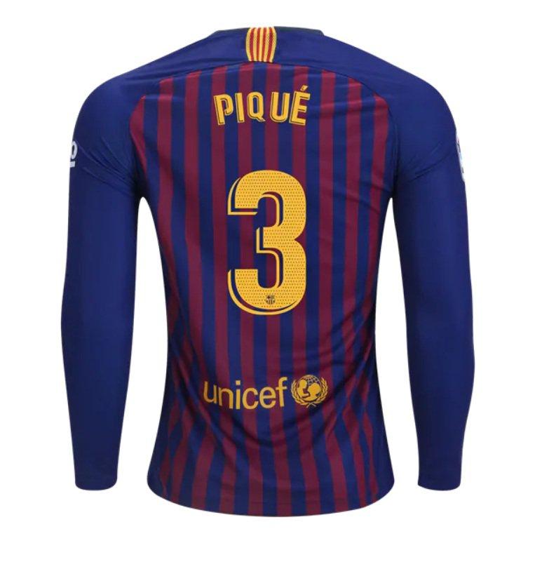 new styles 89f94 d4c4d FAN SHIRT Pique #3 FC Barcelona 2018-2019 Home Jersey Long Sleeve Free  Shipping
