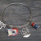 NFL Football New England Patriots Fancy Silver Charm Bracelet