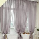 Linen Fabric CURTAINS Drapes 1 Panels Gray Rod Pocket