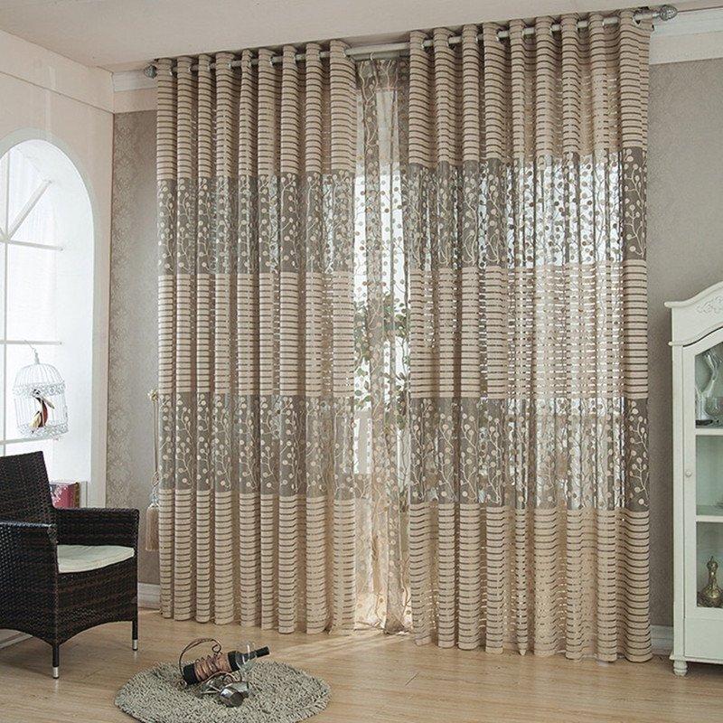 1 Panel Stripe Curtain for kitchen living room jacquard gray grommet